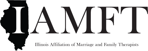 Logo for IAMFT showing the outline of the state of Illinois and saying Illinois Affiliation of Marriage and Family Therapists